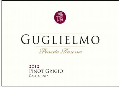 古列尔莫私人珍藏灰皮诺干白葡萄酒(Guglielmo Private Reserve Pinot Grigio,California,USA)