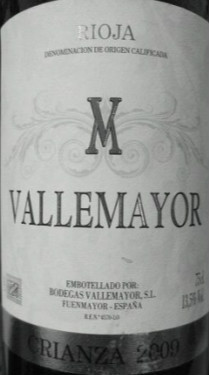 Bodegas Vallemayor Crianza,Rioja DOCa,Spain