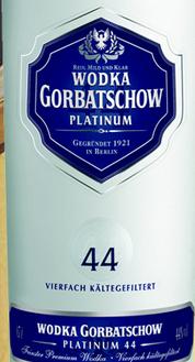 卡瓦斯山44铂金戈尔巴乔夫伏特加(Cavas Hill Alemania Destiladoswodka Gorbatschow Platinum 44,...)