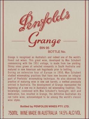 奔富葛兰许干红葡萄酒(Penfolds Grange,South Australia,Australia)