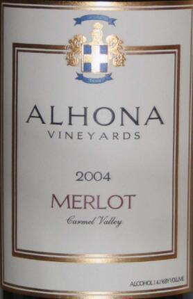 阿尔霍纳梅洛干红葡萄酒(Alhona Vineyards Merlot, Carmel Valley, USA)