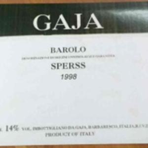 嘉雅思波斯园干红葡萄酒(Gaja Sperss,Langhe,Italy)