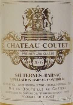 古岱酒庄贵腐甜白葡萄酒(Chateau Coutet,Barsac,France)