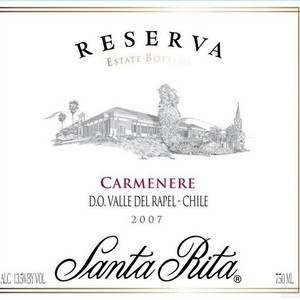 桑塔丽塔珍藏佳美娜干红葡萄酒(Santa Rita Reserva Carmenere,Central Valley,Chile)