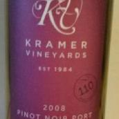 克雷默酒庄黑皮诺红葡萄酒(Kramer Vineyards Pinot Noir, Yamhill-Carlton District, U.S.A.)