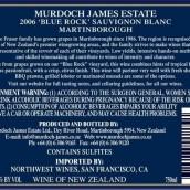 Murdoch James Estate 'Blue Rock' Sauvignon Blanc, Martinborough, New Zealand