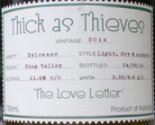 亲密无间情书西万尼白葡萄酒(Thick as Thieves The Love Letter Sylvaner,  King Valley, Australia)