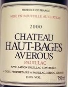 靓茨伯庄园副牌干红葡萄酒(Chateau Haut-Bages Averous, Pauillac, France)