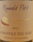 罗曼尔德单一蒂姆斯甜白葡萄酒(RomualdPetit Monopoly des Dimes, Saint-Veran, France)