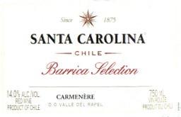 圣卡罗橡木桶精选佳美娜干红葡萄酒(Santa Carolina Barrica Selection Carmenere, Valle del Rapel, Chile)