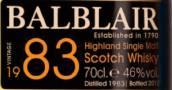 巴布莱尔1983年份苏格兰单一麦芽威士忌(Balblair 1983 Vintage Single Malt Scotch Whisky,Highlands,UK)