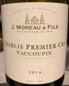 莫罗父子酒庄瓦科宾(夏布利一级园)干白葡萄酒(J. Moreau & Fils Vaucoupin, Chablis Premier Cru, France)