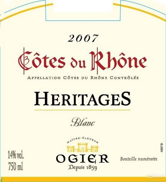 奥杰罗纳河谷遗产干白葡萄酒(Ogier Heritages Blanc,Cotes du Rhone,France)