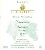 施蒂格勒依瑞恩温克乐堡塔明娜迟摘干白葡萄酒(Weingut Stigler Ihringen Winklerberg Traminer Spätlese trocken, Baden, Germany)