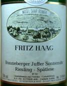 海格布朗伯哲朱弗日晷园14号雷司令迟摘白葡萄酒(Fritz Haag Brauneberger Juffer Sonnenuhr Riesling Spatlese Fuder 14, Mosel, Germany)
