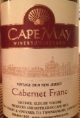 五月角品丽珠干红葡萄酒(Cape May Cabernet Franc, New Jersey, USA)