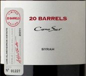 柯诺苏20桶限量版西拉干红葡萄酒(Cono Sur 20 Barrels Limited Edition Syrah, Limari Valley, Chile)