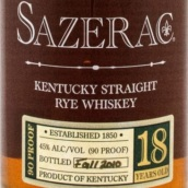 萨泽瑞克18年纯黑麦威士忌(Sazerac 18 Years Old Straight Rye Whiskey,Kentucky,USA)