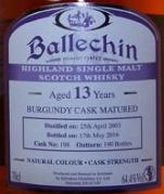 埃德拉多尔巴乐琴13年勃艮第桶陈重度泥煤味苏格兰单一麦芽威士忌(Edradour Ballechin Aged 13 Years Burgundy Cask Matured ...)
