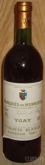 姆列达侯爵佳酿干红葡萄酒(Marques de Murrieta Etiqueta Blanca Crianza,Rioja DOCa,Spain)
