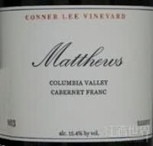 马修斯康纳庄园珍藏品丽珠干红葡萄酒(Matthews Conner Lee Vineyard Reserve Cabernet Franc,Columbia...)