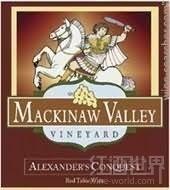 麦基诺亚历山大征服半干红葡萄酒(Mackinaw Valley Vineyard Alexander's Conquest,Illinois,USA)
