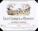 福卡浩丹酒庄副牌干红葡萄酒(Les Cedres d'Hosten,Listrac-Medoc,France)