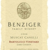 本齐格巴尔园白麝香干白葡萄酒(Benziger Family Winery Bartolucci Vineyard Muscat Canelli,...)