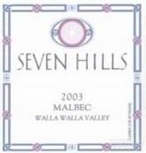 七山马尔贝克干红葡萄酒(Seven Hills Malbec, Walla Walla Valley, USA)