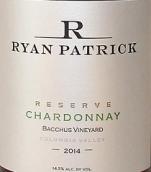 瑞安帕特里克巴克斯园珍藏霞多丽干白葡萄酒(Ryan Patrick Bacchus Vineyard Reserve Chardonnay, Columbia Valley, USA)