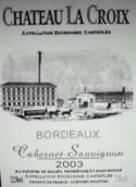 圣十字赤霞珠干红葡萄酒(Chateau La Croix Cabernet Sauvignon, Pomerol, France)