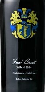 法丝徽章私人珍藏西拉干红葡萄酒(Fasi Estate Winery Fasi Crest Private Reserve Syrah, Madera, USA)