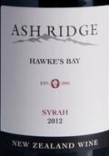 阿什利基卡东纳斯园西拉干红葡萄酒(Ash Ridge Cardoness Vineyard Syrah,Hawke's Bay,New Zealand)