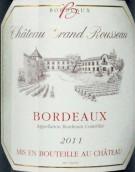 大卢梭城堡红葡萄酒(Chateau Grand Rousseau, Bordeaux, France)