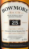 波摩25年苏格兰单一麦芽威士忌(Bowmore Aged 25 Years Single Malt Scotch Whisky, Islay, UK)