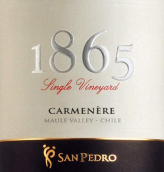 圣派德罗1865佳美娜干红葡萄酒(Vina San Pedro 1865 Single Vineyard Carmenere, Maule Valley, Chile)