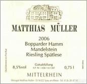 Matthias Muller Bopparder Hamm Mandelstein Riesling Spatlese...