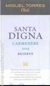 智利桃乐丝圣迪娜珍藏佳美娜干红葡萄酒(Miguel Torres Santa Digna Carmenere Reserva,Central Valley,...)