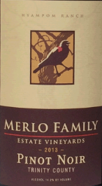 梅勒家族黑皮诺干红葡萄酒(Merlo Family Estate Vineyards Pinot Noir, Trinity County, USA)