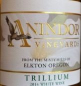 安宁多尔延龄草干白葡萄酒(Anindor Vineyards Trillium,Umpqua Valley,USA)