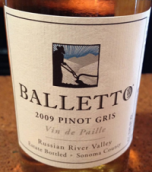 巴乐图酒庄麦秆灰皮诺甜白葡萄酒(Balletto Vineyards Vin de Paille Pinot Gris, Russian River Valley, USA)