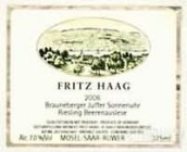 海格布朗伯哲朱弗日晷园雷司令逐粒精选甜白葡萄酒(Fritz Haag Brauneberger Juffer Sonnenuhr Riesling Beerenauslese, Mosel, Germany)