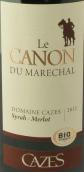 卡哲仕马雷夏尔西拉-梅洛红葡萄酒(Domaine Cazes Le Canon du Marechal Syrah - Merlot Rouge, Languedoc-Roussillon, France)