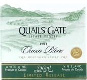 魅尔斯堡白诗南干白葡萄酒(Quails'Gate Chenin Blanc,Okanagan Valley,Canada)