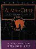 阿格莱智利阿尔玛珍藏佳美娜干红葡萄酒(De Aguirre Bodegas Vinedos Alma de Chile Reserve Carmenere,...)