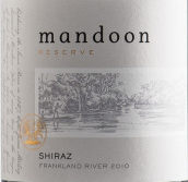 曼顿法兰克兰河珍藏西拉干红葡萄酒(Mandoon Estate Reserve Frankland River Shiraz,Perth Hill,...)