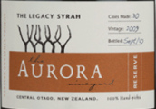 欧若拉传奇西拉干红葡萄酒(Aurora Vineyard The Legacy Syrah,Central Otago,New Zealand)