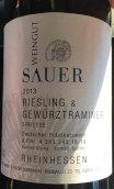 绍尔雷司令琼瑶浆迟摘甜白葡萄酒(Weingut Sauer Riesling Gewurztraminer Spatless,Rheinhesse,...)