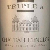 朗格洛酒庄三A红葡萄酒(Chateau L'Enclos Triple A Rouge,Sainte-Foy-Bordeaux,France)