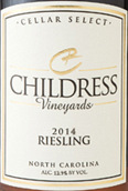 柴德里斯酒庄雷司令干白葡萄酒(Childress Riesling, North Carolina, USA)